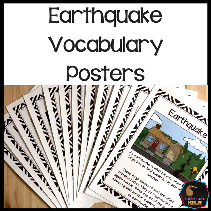 Earthquake Vocabulary Posters - montessorikiwi