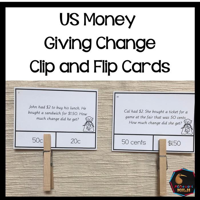 US Money Giving Change Clip and Flip Cards - montessorikiwi