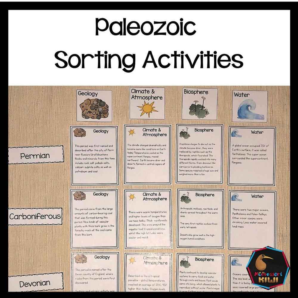 Paleozoic Sorting Activity (Montessori) - montessorikiwi