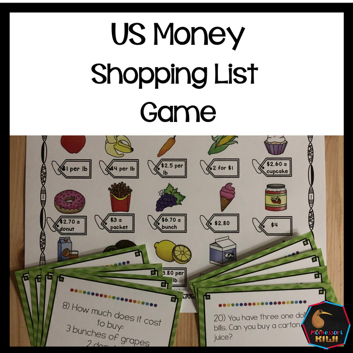 US Money Food Shopping Game - montessorikiwi