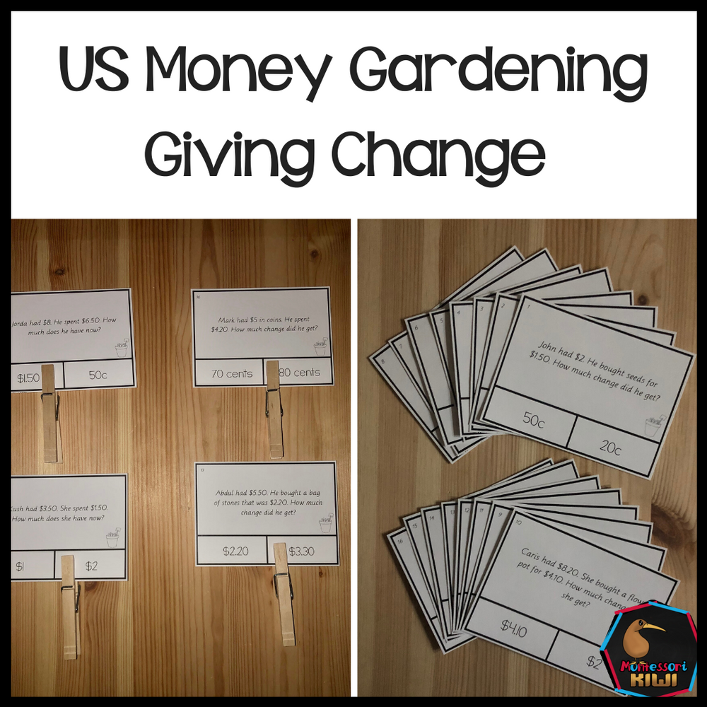 US Money Gardening Themed Giving Change Clip and Flip Cards - montessorikiwi