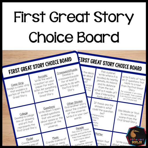 First Great Story Choice Board - montessorikiwi