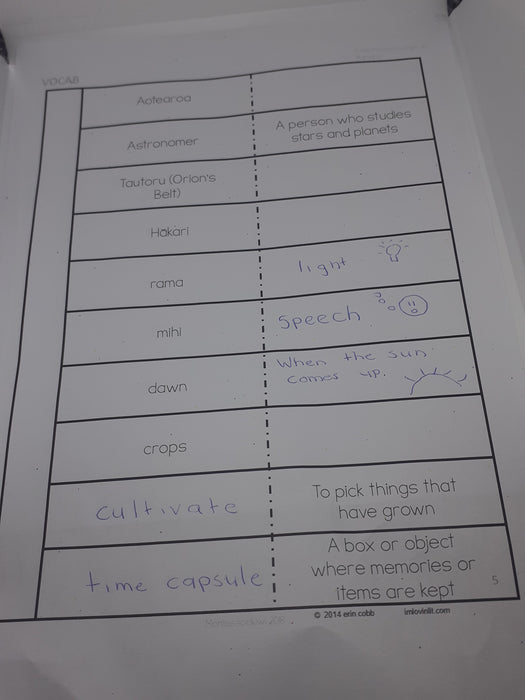 Matariki School Journal linked activities - montessorikiwi