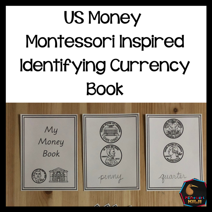 US Money Montessori Inspired Identifying Currency Book - montessorikiwi