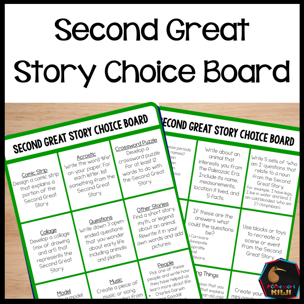 Second Great Story Choice Board - montessorikiwi
