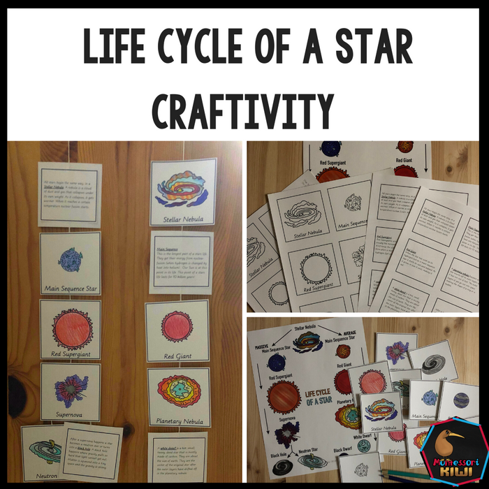 Life Cycle of a Star Craftivity - Space - montessorikiwi