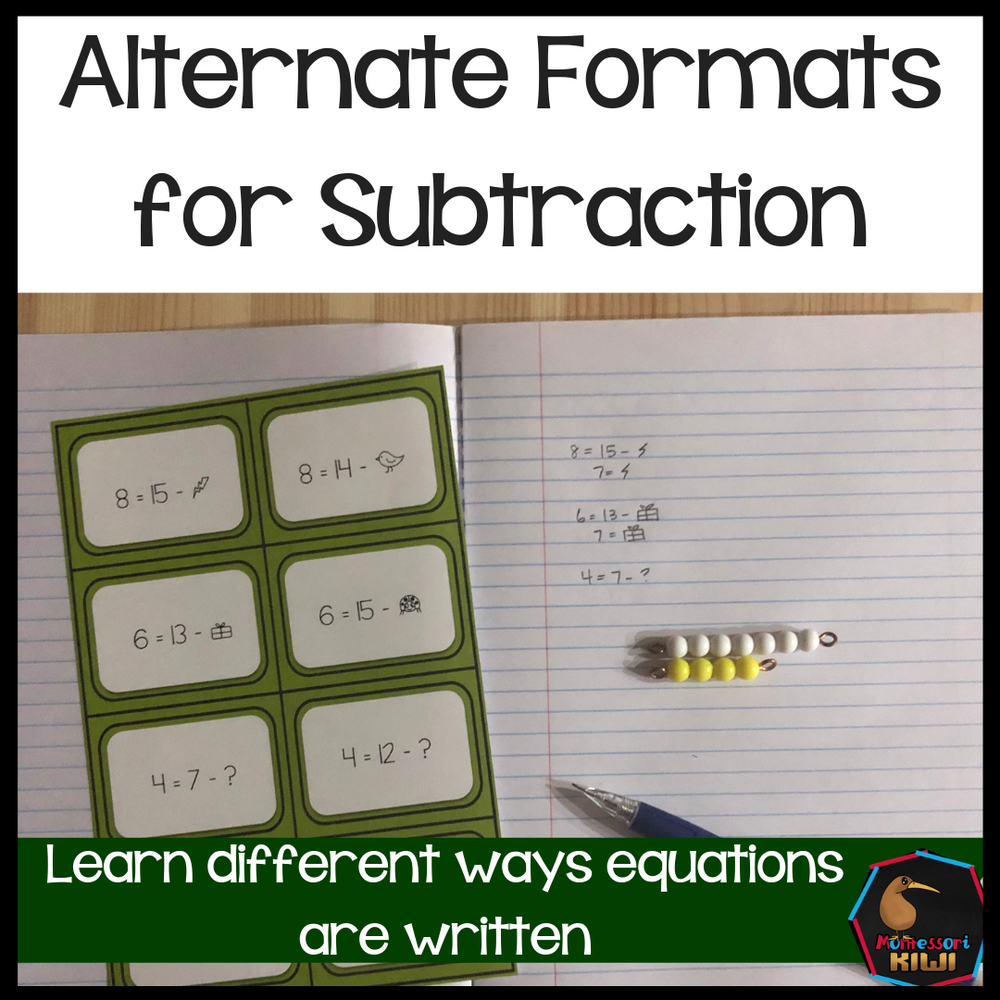 Alternative formats for Subtraction - montessorikiwi