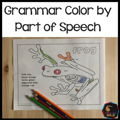 Grammar color by parts of speech activity - montessorikiwi