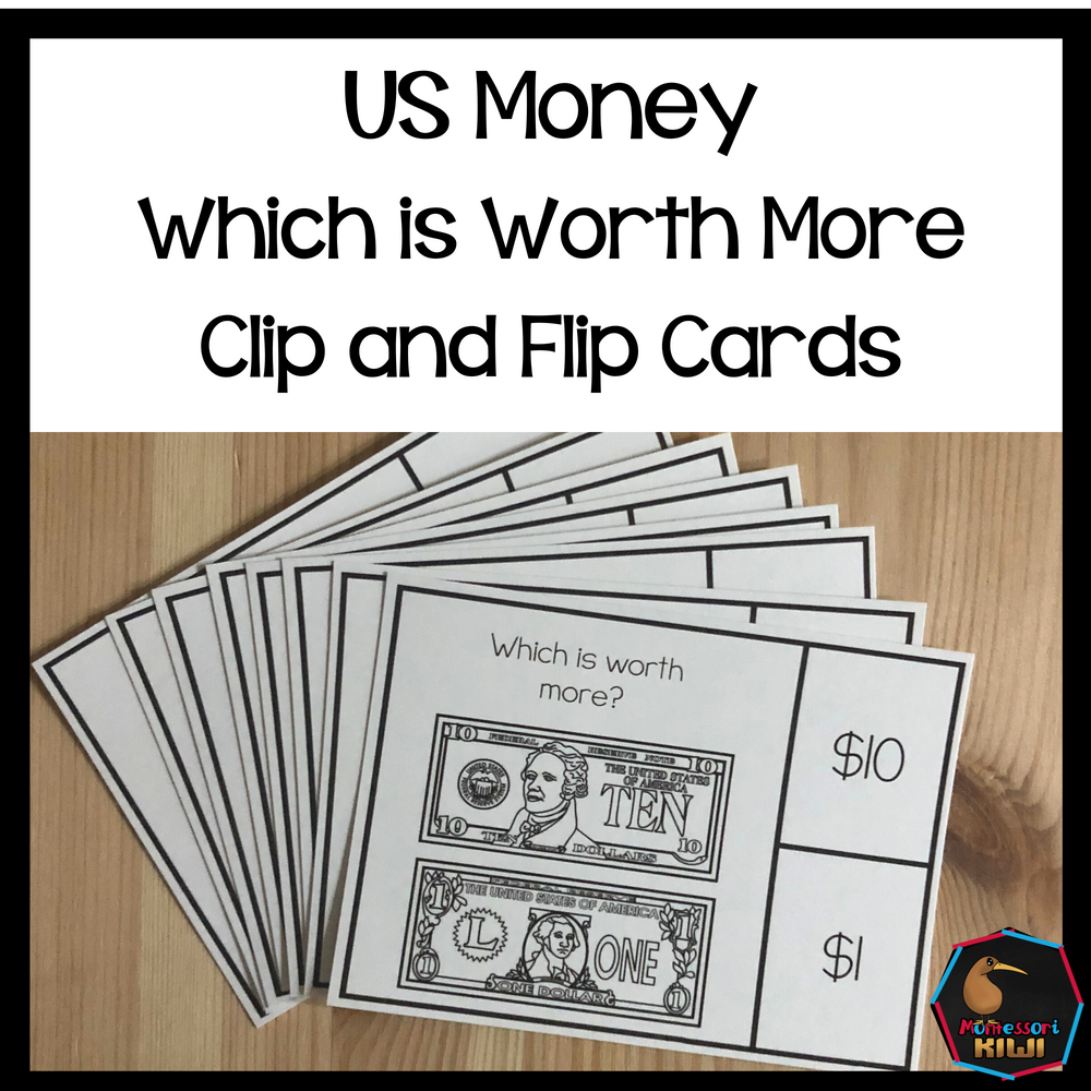 US Money Which is Worth More Clip and Flip Cards - montessorikiwi