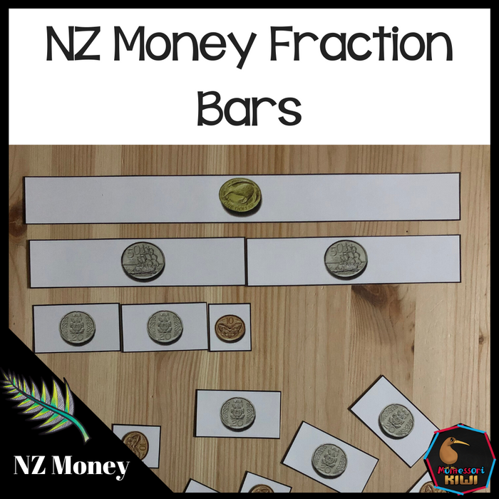 New Zealand Money Level 2 - NZ Money Fraction Bars - montessorikiwi