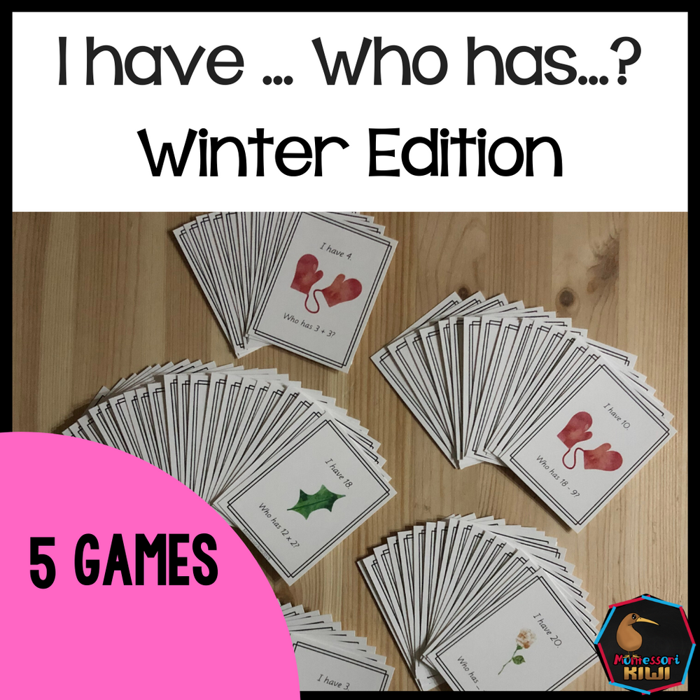 I Have Who Has Winter Edition (Math Games) - montessorikiwi