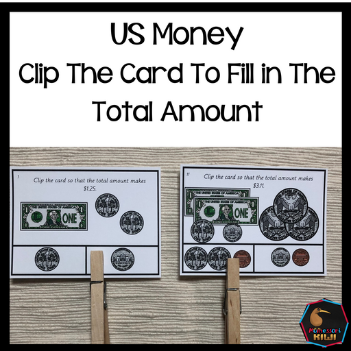 US Money Clip The Card To Fill In The Total Amount - montessorikiwi