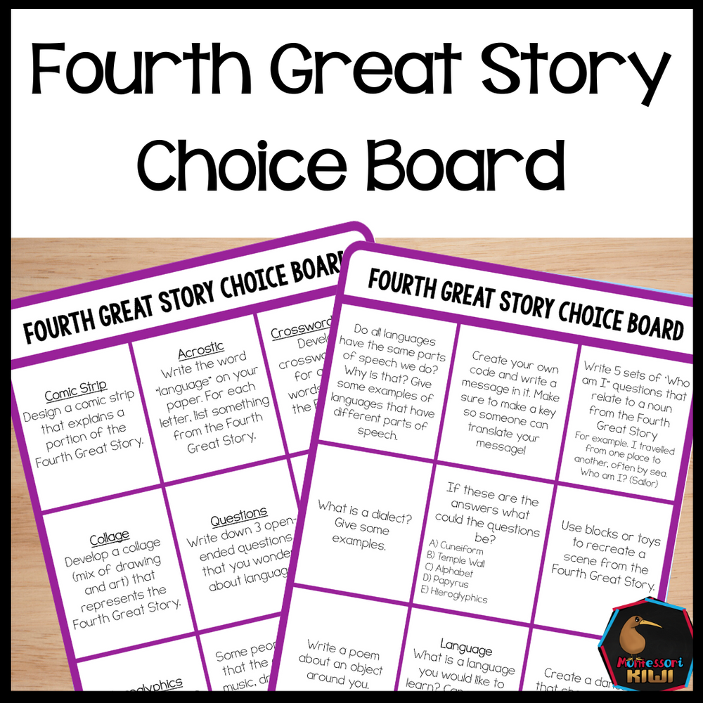 Fourth Great Story Choice Board - montessorikiwi