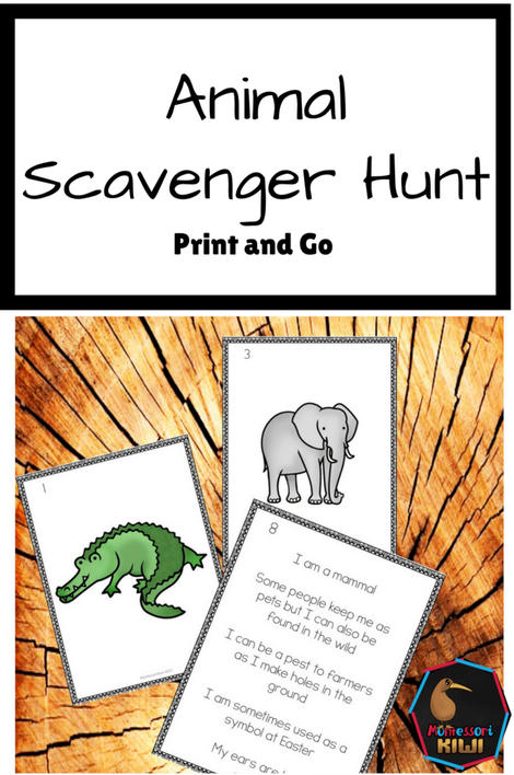 Animal Scavenger Hunt - montessorikiwi
