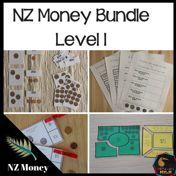 New Zealand Money Bundle Level 1 - montessorikiwi