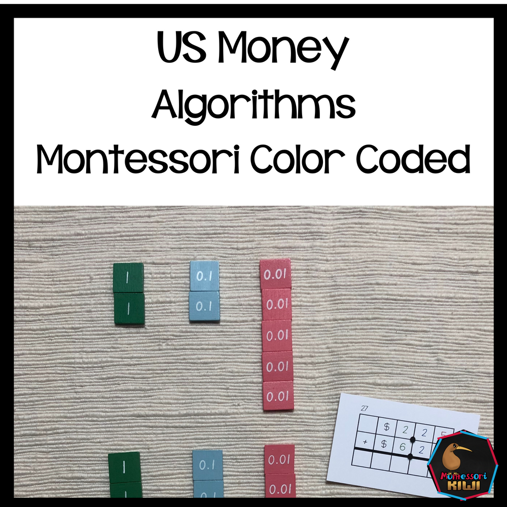 US Money Equations or Algorithms Montessori Color Coded - montessorikiwi