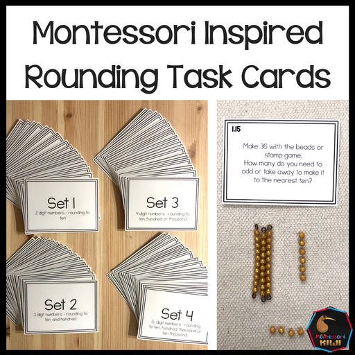 Rounding Numbers Task or Command Cards - montessorikiwi