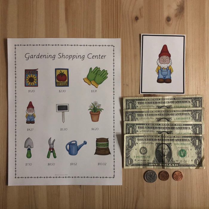 US Money Gardening Centre 3 part cards and Price List - montessorikiwi