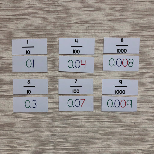 Comparing fractions to decimals match up - montessorikiwi