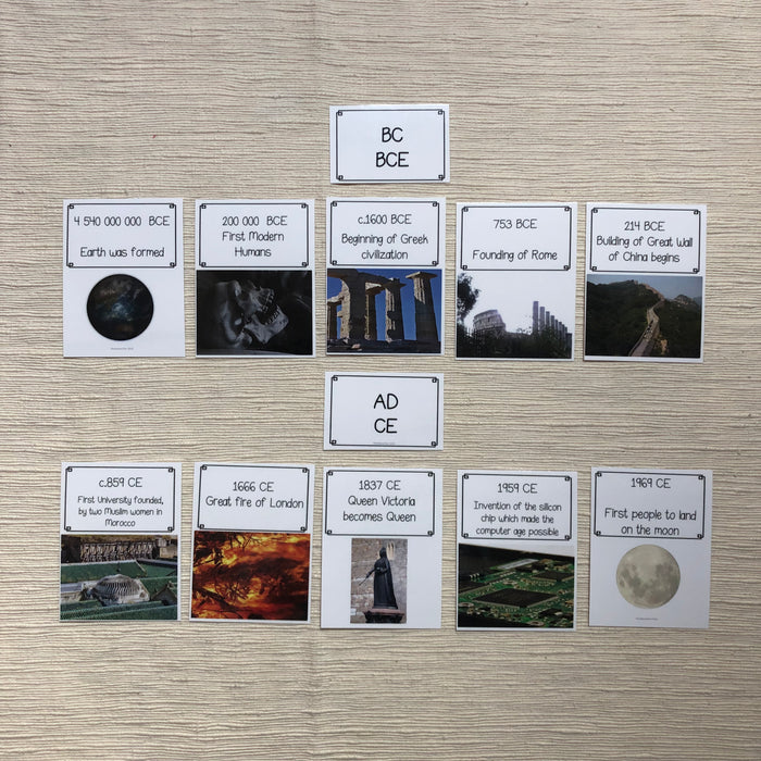 History Timeline cards BCE CE + BC AD - montessorikiwi