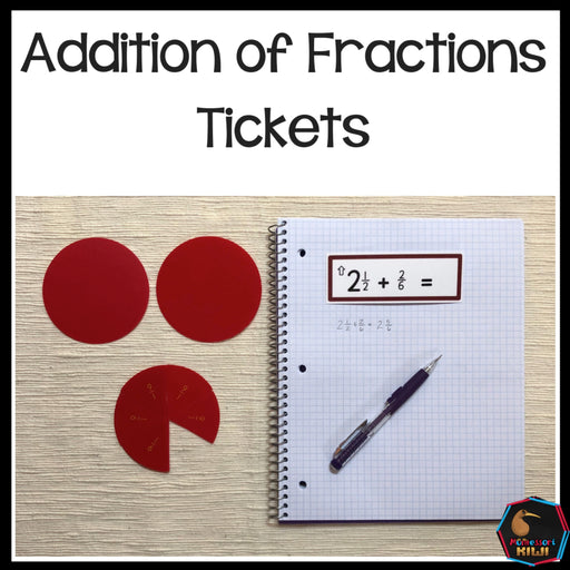 Addition of Fraction Tickets - montessorikiwi