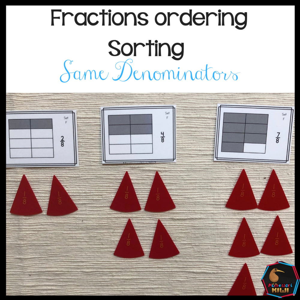 Ordering fractions with the same denominator - montessorikiwi
