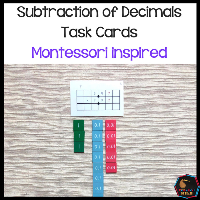 Subtraction of Decimal Task Cards - montessorikiwi
