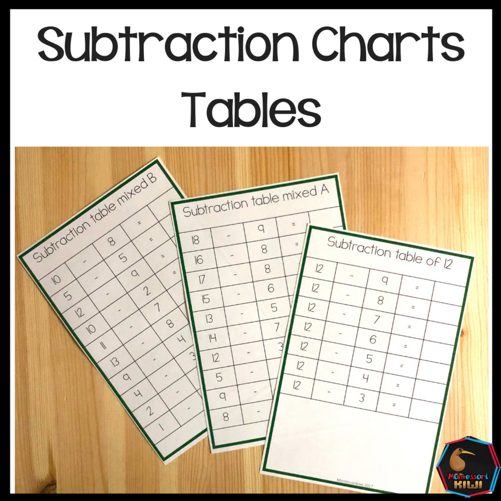 Subtraction Charts Tables - montessorikiwi
