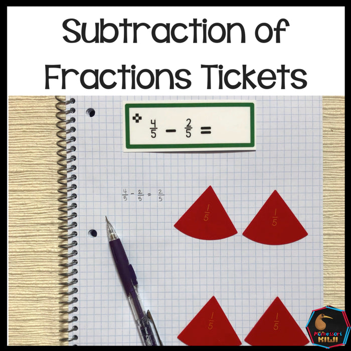 Subtraction of Fraction Tickets - montessorikiwi