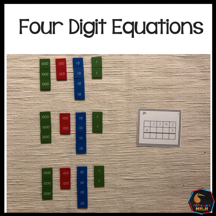 Four digit equations (Montessori) - montessorikiwi