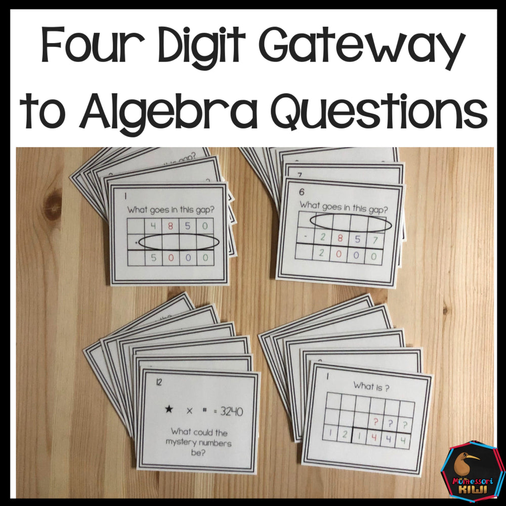 Four digit 'Gateway to Algebra' questions - montessorikiwi