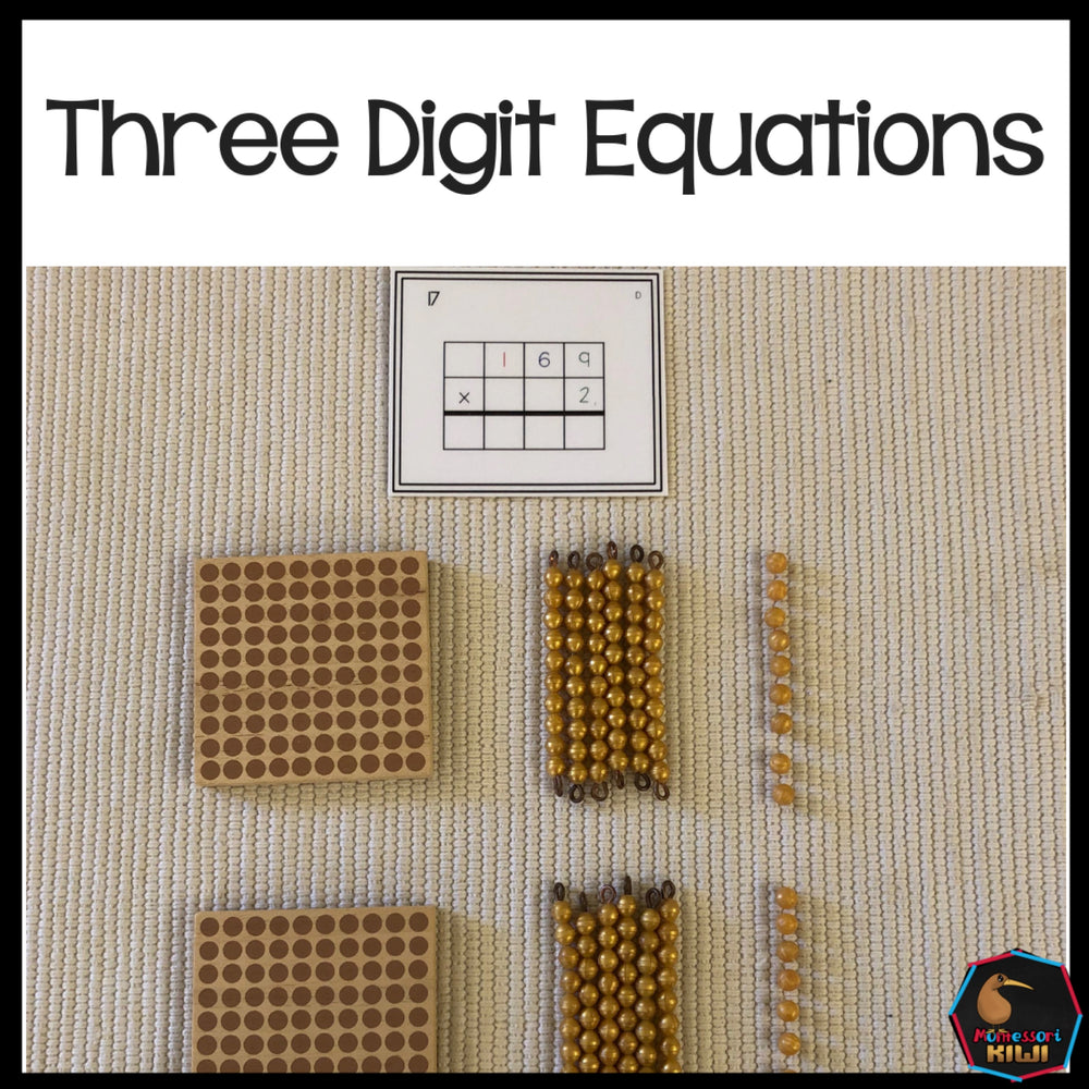 Three digit equations (Montessori) - montessorikiwi