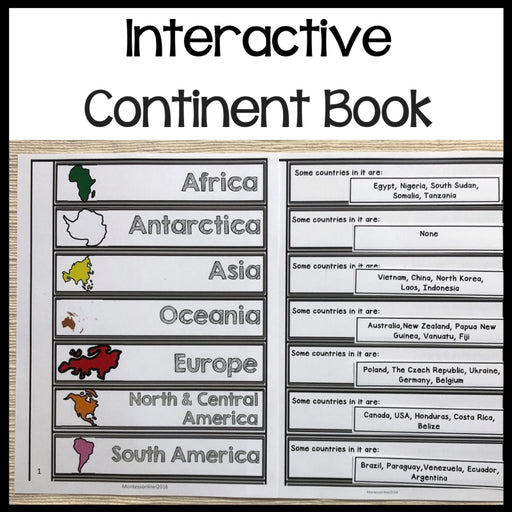 Continent Book - montessorikiwi