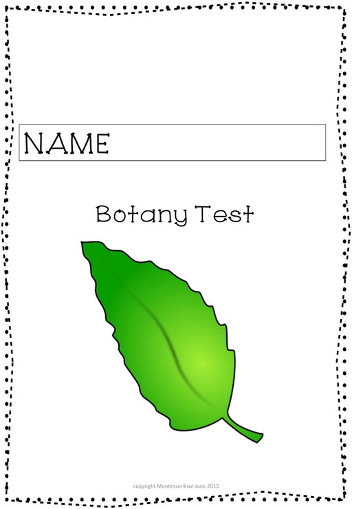 Montessori Botany Test for Assessment - montessorikiwi