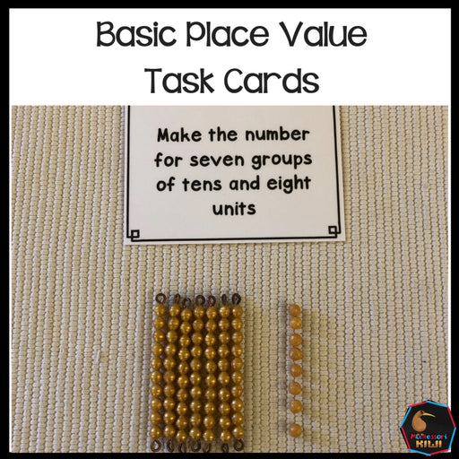 Basic place value task cards - montessorikiwi