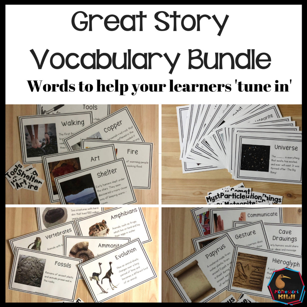 Vocab Words for Montessori Great Stories BUNDLE - montessorikiwi