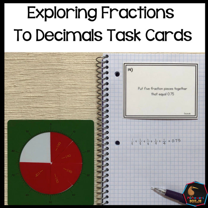 Converting Fractions to Decimals Task Cards - montessorikiwi