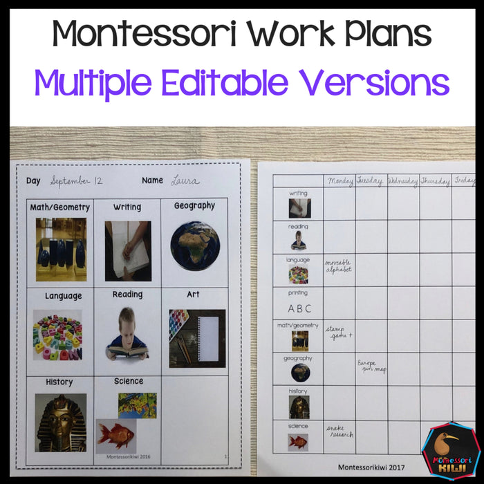 Montessori work plans - Editable - montessorikiwi