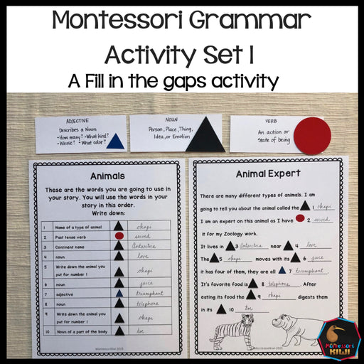 Montessori grammar activity set 1 - montessorikiwi