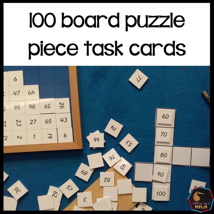 Hundred Board Puzzle Pieces Task Cards - montessorikiwi
