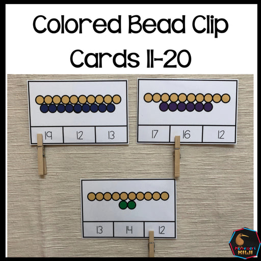 Colored beads clip cards 11-20 (teen numbers) - montessorikiwi