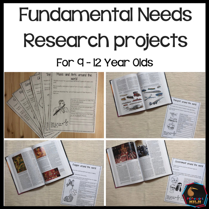 Fundamental Needs Research projects for 9-12 - montessorikiwi