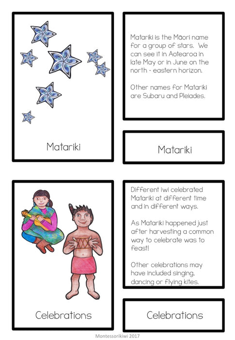 Matariki Matching cards (Montessori inspired) Lower Primary - montessorikiwi