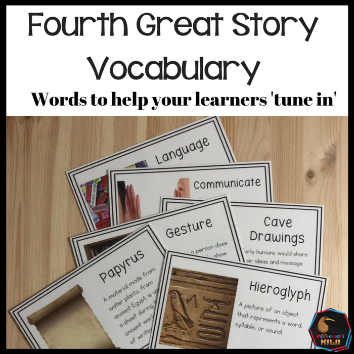 Vocab words for Fourth Great Story - montessorikiwi