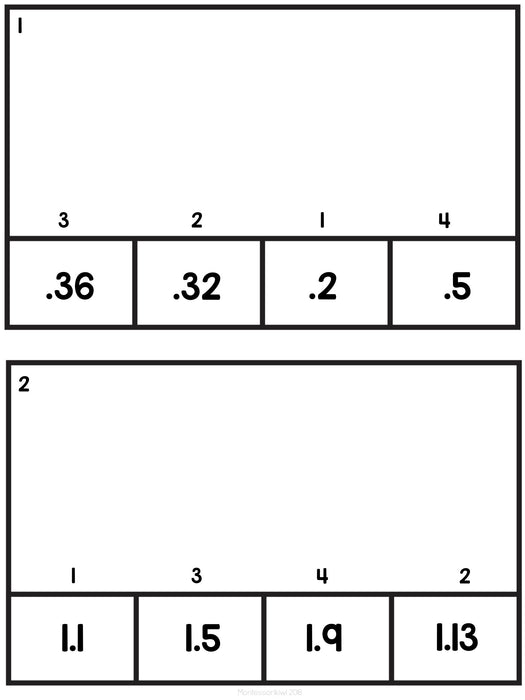 Ordering decimals on a number line: Clip and Flip - montessorikiwi