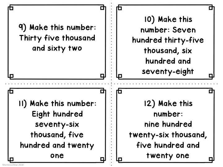 Montessori math: advanced place value task cards set 2 - montessorikiwi