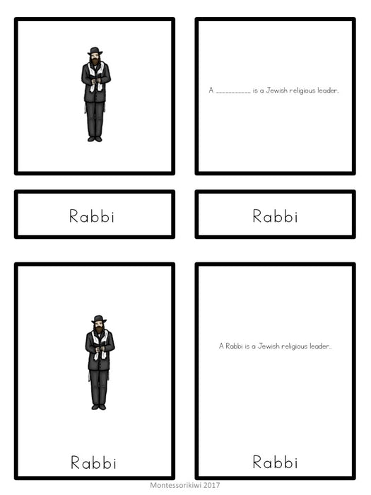 Judaism 5 part cards - montessorikiwi