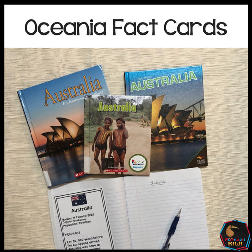 Oceania countries and territories fact cards - montessorikiwi