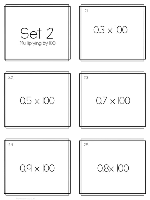 Multiplying decimals by 10, 100 and 1000 - montessorikiwi