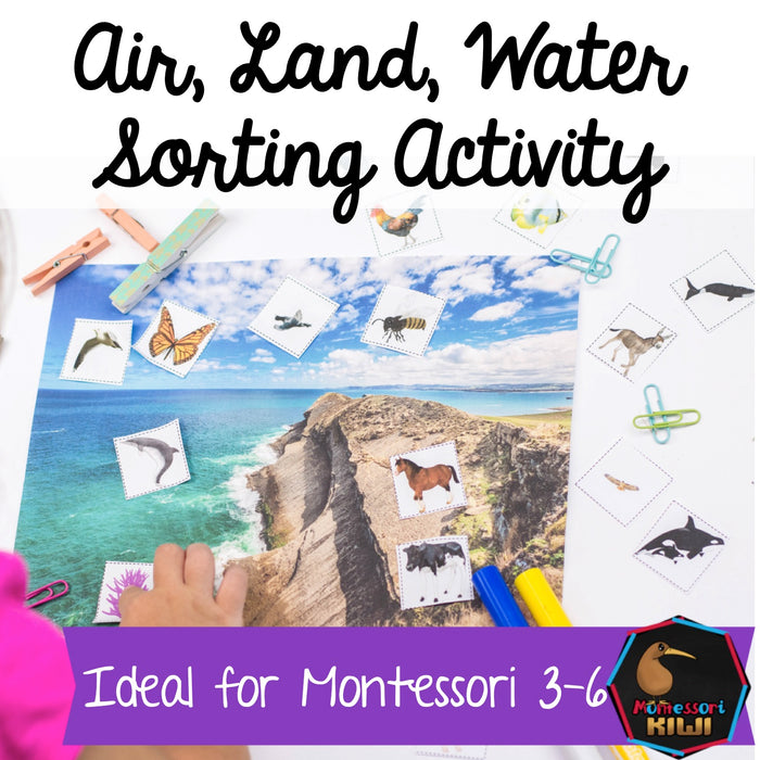 Air Land Water Montessori sorting (animals) - montessorikiwi